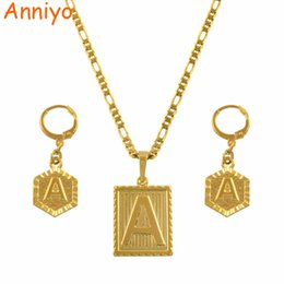 8dba73696 Anniyo A-Z 26 Letters Necklaces Sets Gold Color Initial Alphabet Pendant Letter  Earring Jewelry Accessories #104006SS