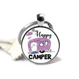"""Characters Figures Australia - 2019 new """"a happy camper"""" crystal keychain, stylish stick figure glass pendant, letter photo alloy keychain, Christmas gift"""