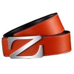 letter h belts NZ - Personality Z buckle smooth buckle belt for young and middle-aged men H letter buckle Genuine leather belt