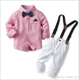 $enCountryForm.capitalKeyWord Australia - 2019 New Boys Gentleman Style Suit Children Long Sleeve Shirt With Bowtie+Suspender Pants 2pcs Sets Kids Outfits Boy Sets 80-130cm