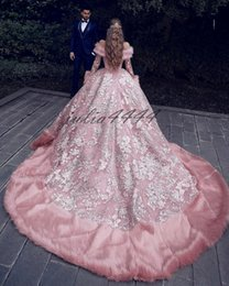 $enCountryForm.capitalKeyWord Australia - Luxury Sweetheart Fur Ball Gown Wedding Dresses 2019 Arabic Lace Appliqued Bridal Gowns With Sweep Train Plus Size Maternity Dress