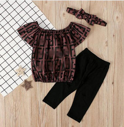 T Shirt Trouser Baby Girl Australia - 2019 Fashion Toddler Kids Girl Clothes Set Off Shoulder Letter Tops + Pant + Headband Brand Baby Girl Clothing t-shirt trousers