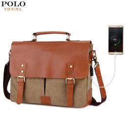 Bag Polo Pu Australia - VICUNA POLO Vintage Genuine Leather Satchel Messenger Bag For Man Canvas 14'' Men Laptop Bags Shoulder Bag Men Briefcase Handbag