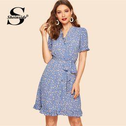 f35439e0f5 Sheinside Vintage Floral Print Button Detail Dress Women 2019 Summer V Neck  Short Sleeve Dresses Ladies Belted A Line Dress
