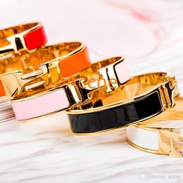 d12c41c461 Bracciale di lusso da 12 mm Bracciale con ciondoli Bracciale con smalto  polsino H Fibbia in argento Bracciali di alta qualità per le donne