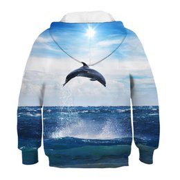 blue dolphin hoodies Australia - Blue Sunny Sky Sea Jump Dolphin Printing Children Hoodies Winter Tops Boys Girls 3d Sweatshirts Clothes Baby Kids Pullovers
