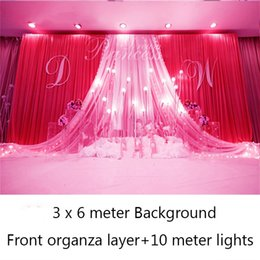 $enCountryForm.capitalKeyWord Australia - Ice silk elegant and luxury wedding backdrops party event curtain drape including front organza layer and lights gift 36
