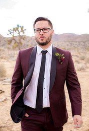 Images Classic Suit Design Australia - New Classic Design One Button Burgundy Groom Tuxedos Groomsmen Shawl Lapel Best Man Suit Wedding Men's Blazer Suits (Jacket+Pants+Tie) 1023