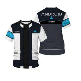 92a8b14334 Unisex Men Women T Shirt Game Detroit Become Human Connor RK900 Agent  Uniform T-shirt Short Sleeve Cosplay Costumes Tops 7XL