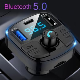 Discount music player types Latest Bluetooth 5.0 Car FM Transimtter QC3.0 Quick Charger Type-c FM Modulator TF USB Pendrive Music Car MP3 Player