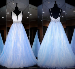 $enCountryForm.capitalKeyWord Australia - Romantic light Blue White 2019 Prom pageant Dresses Formal Evening Gowns V neck Crystal Sequins Ruched Tulle Princess Designer Long Cheap