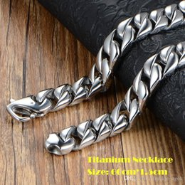 Real Chains For Men Australia - High Quality Real Titanium Wrsitband Jewelry High Polished Heavy Curb Cuban Link Necklace For Men Exaggerated Punk Chain 60cm*1.5cm