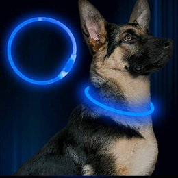 $enCountryForm.capitalKeyWord Australia - Newest Cut USB Charge Dog Training Silicone Collar LED Outdoor Luminous charger Pet Dog Collars light Adjustable LED flashing dog collar