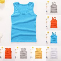 Kids Clothes Tank Top Australia - Dropshipping Summer Boy Girls Vest Solid Kid Clothes Sleeveless Tops Children Clothing Tanks & Camisoles