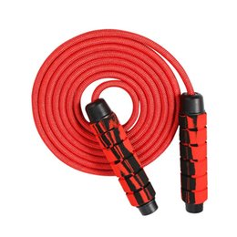 fitness cables Canada - Professional Double Ball Bearing Jump Rope Weighted Cotton Rope Adjustable Length Handles Jump Cable Durable Fitness 415