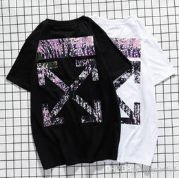 white asymmetric shorts Australia - European and American tide brand OFF spring and summer WHITE color graffiti short sleeve students high street cotton men and women lovers ha