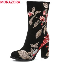 chinese boots Canada - MORAZORA 2019 Chinese style Embroider women boots high heels autumn winter mid calf boots cow suede leather female shoes
