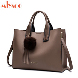 $enCountryForm.capitalKeyWord Australia - Miyaco Women Leather Handbags Casual Brown Tote Bags Crossbody Bag Top-handle Bag With Tassel And Fluffy Ball MX190716