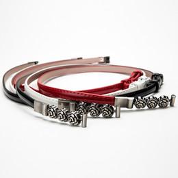 $enCountryForm.capitalKeyWord NZ - 2019 New Designer White Black Red Thin Skinny Leather Belt Waist Band Female Vintage Rose Flower Buckle Belts for Women Dress