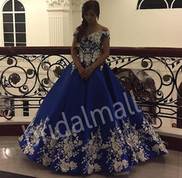 Plus size formal evening long gown online shopping - Off the Shoulder Royal Blue Long Prom Dresses With D Floral Appliques Evening Party Gowns Draped Satin Formal Prom Dress Plus Size