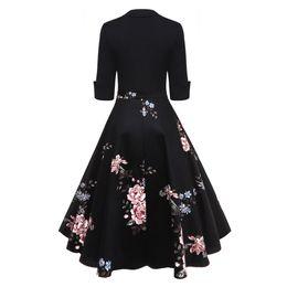 872031bda4 Audrey Hepburn Vintage Party Dress Women Floral Flare Midi Dresses Winter  Autumn Retro Elegant Dress Vestidos Robe Femme