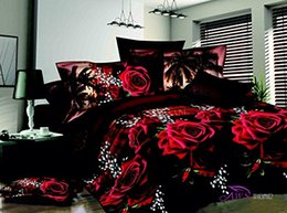 black white rose bedding NZ - 3D Red Rose Black Skin Floral Print Bedding Set Queen Size 3d Bedding Sets(Comforter Not Included)