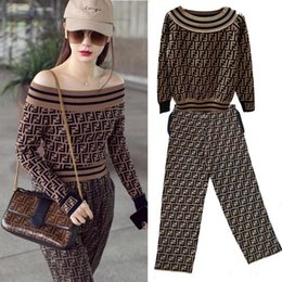 F Suits NZ - brand women knitwear suit Waistcoat One Word Round Neck Hole Double F Letter Long Sleeve Knitting Unlined Upper Garment Jacket Curved Beads