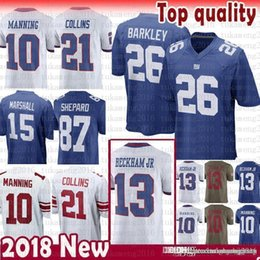 823e6a535 26 Saquon Barkley New York Gaints Jersey 10 Eli Manning 13 Odell Beckham Jr  15 Brandon Marshall 21 Landon Collins 87 Shepard Simms cheap top