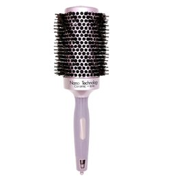 Highest Quality Hair UK - High Quality Hairdresser Brush Alunimun Barrel Hair Ceramic Round Comb With Boar Bristle Ionic Curling Brush Barber Comb 4 Size T10190613
