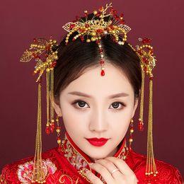 $enCountryForm.capitalKeyWord NZ - Bride's ancient costume headdress cheongsam Chinese phoenix step shake suit wedding headdress brides hair accessories