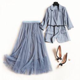 Discount linen suit outfits - Women office lady elegant linen blazer suit + long mesh skirt 2 piece set outfits new 2019 spring summer blue