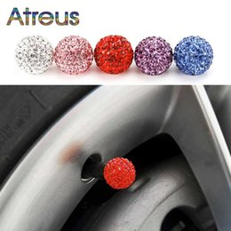 diamond focus Australia - 4Pcs Car Styling Diamond Shining Dustproof Car Tire Valve Caps for E46 E60 focus 2 Kuga 3 cx-5 Polo