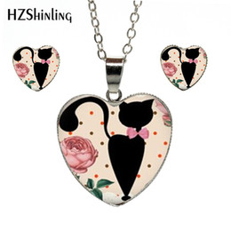 China Accessories Cats Australia - 2019 New Fashion Vintage Cat and flowers Art Photos Heart Jewelry Set Silver Heart Necklace and Earring Jewelry Accessories