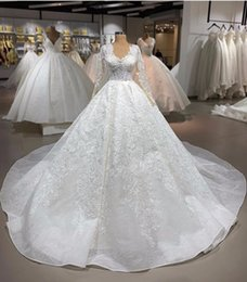 $enCountryForm.capitalKeyWord Australia - Luxury Deep V Necl Lace Appliqued Ball Gown Wedding Dress Vinathe Open Back Saudi Arabia Dubai Long Sleeves Bridal Gown