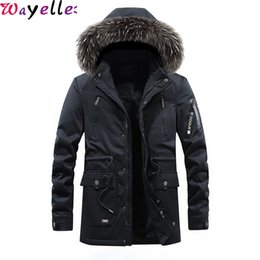 Wholesale men fur hooded trench coat resale online - Winter Long Coats Men Fleece Jacket Thick Warm Fur Collar Hooded Parka Men Windbreaker Waterproof Long Trench Coat Overcoats