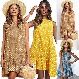 Wholesale 2019 Summer Ruffles beach bohemian dress women seaside holiday Polka dot print mini dress Girls sleeveless loose casual o neck party dresses