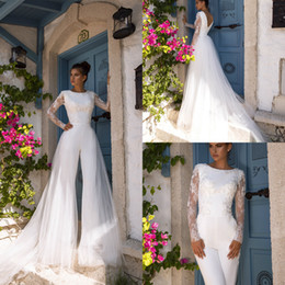 jumpsuit floor length dresses NZ - 2020 Wedding Dress With Detachable Train Jumpsuit Jewel Neck Appliqued Long Sleeves Bridal Gown Floor Length Custom Made Lace Abiti Da Sposa