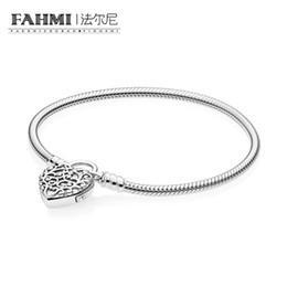 Heart padlocks online shopping - FAHMI Sterling Silver Charming MOMENTS SMOOTH BRACELET WITH REGAL HEART PADLOCK CLASP women Charm