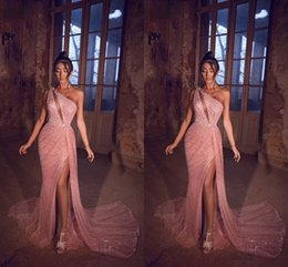 crystal rose images UK - Rose Pink Bling Sequined Evening Dresses 2020 Arabic One Shoulder Sweep Train Mermaid Prom Gowns High Slit Formal Party Dress AL6037
