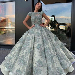 $enCountryForm.capitalKeyWord Canada - Evening dress Yousef aljasmi Labourjoisie Zuhair murad Ball Gown Jewel Short Sleeve Light Green Tulle Applique Sequins Lace Long Dress