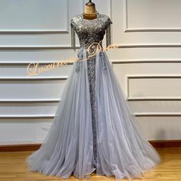 Grey sequin red carpet dress online shopping - Grey Crystal Tassel Luxury Evening Dresses Latest Design O Neck Sleeveless Lace Evening Gowns Serene Hill Prom Dresses robes de soirée