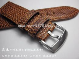 Nova Handmade fio grosso cinta 22mm Lizard pulseira de couro genuíno couro Marrom com fivela de aço inoxidável