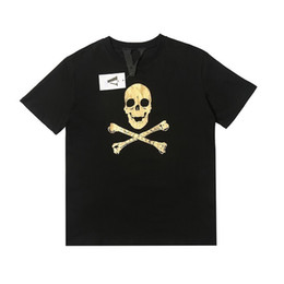 T-shirt da uomo di design Creative Golden Pleated Skull Stampa Essential Explosion T-Shirt Malec