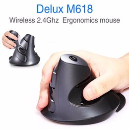 usb 3d optical mouse Canada - Wholesale Delux M618 Wireless 2.4GHz Ergonomic Vertical Mouse USB Optical Gaming Mice Healthy Massage Mouse 3D USB Mice for Computer Laptops