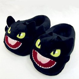 $enCountryForm.capitalKeyWord Australia - Halloween Toothless Train Dragon DreamWorks cotton slippers plush home warm slippers Train Your Dragon Black Dragon