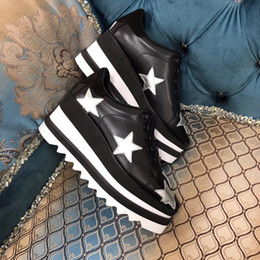 Platform closed wedges online shopping - 2019 Hot Sale New Color Stella Women Star Platform Shoes Top Quality Calfskin Genuine Leather cm Wedge Oxfords Elyse Sneakers