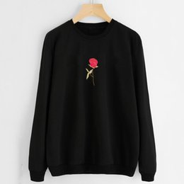 Roses For Women Australia - 2017Women Embroidery Rose Hoodies Sweatshirt Jumper Crop Pullover Tops sweatshirt for women and hoodies for women hoodie unicorn