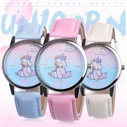 Ladies hand cLocks online shopping - Casual Unicorn Fashion Women Wrist Watch New Leather Student Hand Quartz Watch Female Clock Watches Ladies