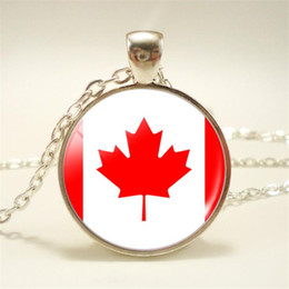 pendant cabochon Canada - Hot Punk Time Gem Glass Cabochon Canada National Flag World Cup Football Fan Pendant Necklace For Women Men Choker Jewelry Long Chain Bijoux
