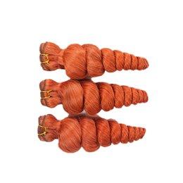 Cheap Colored brazilian hair bundles online shopping - Orange Colored Virgin Human Hair Extensions g Loose Curly Wine Red Hair Bundles Cheap Orange Hair Weaves